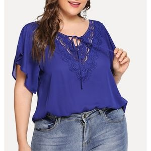 BSH Boutique Tops - Causal Lace Neck Short Sleeve Summer Blouse Top